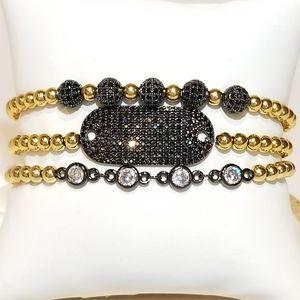 Jewelry - NEW Black Diamond 18K Gold plated Bracelet 3pc set